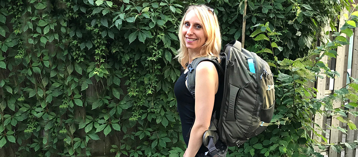 Melissa Rodway with her Osprey Packs Fairview 70 Women's Travel Backpack