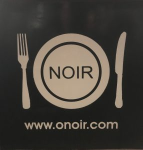 ONOIR Logo, plate with knife and fork.