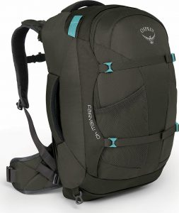 Brown and turquoise travel backpack.