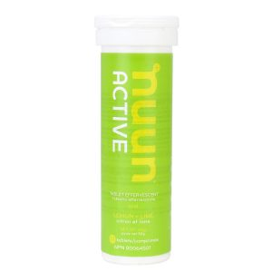 Green container of Nuun electrolyte tablets.