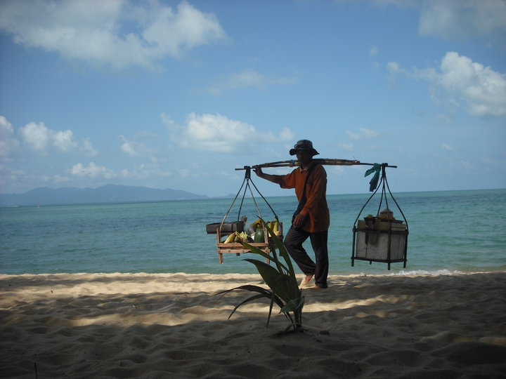 Beach with sun and shadow on sand. Turquoise blue water looks out to mountains across the horizon. In the forefront is a Thai man carrying a yoke with two baskets of goods on either side. There is a plant in front of him.